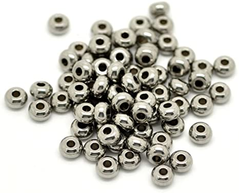 304 Stainless Steel Rondelle Spacer Beads 3 x 5mm Silver 10 Pcs Art Hobby Crafts