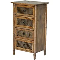 Heather Ann Creations Wallace Collection Living Room Bamboo Style 4 Drawer Free Standing Chest, Rustic Farmhouse, Standard