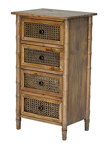 Living Room Rattan End Table (Heather Ann Creations Wallace Collection Living Room Bamboo Style 4 Drawer Free Standing Chest, Rustic Farmhouse, Standard)