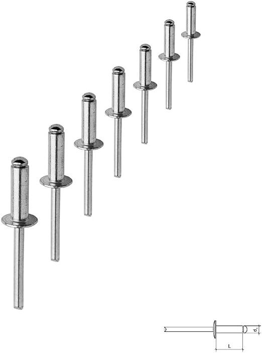 Blindnieten 4,8x10 Alu-Stahl DIN 7337 mit Flachkopf und Sollbruchdorn Form A St/ückzahl 100 Popnieten Flachkopf Nieten