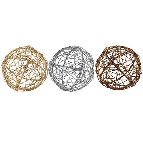 4 Metal Decorative Orbs Decor Set Of 3 Gold Silver & Copper Ball Spheres for Kitchen Home Office Bathroom Dining & Living Room Accents Desktop Coffee Table Bowl Centerpiece Vase Fillers & Mantles