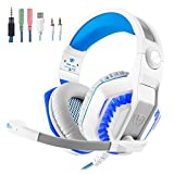 Cheap Gaming Headset for PS4 Xbox One PC, Over Ear Headphones, Noise Cancelling Mic, Stereo Bass Surround, LED Lights, Soft Memory Earmuffs for Laptop Mac-White