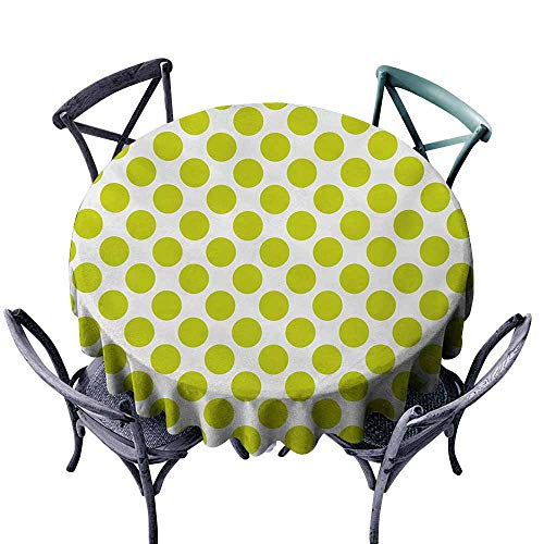VIVIDX Indoor/Outdoor Round Tablecloth,Lime Green,Nostalgic Polka Dots Style Large Circles Girlish Vintage Rounds Pattern,Table Cover for Kitchen Dinning Tabletop Decoratio,40 INCH,White Apple Green
