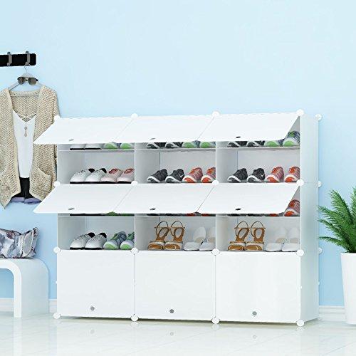 PREMAG Organizador de Almacenamiento de Calzado portatil Tower, Blanco, Estante de gabinete Modular para Ahorrar Espacio, estantes de Zapatero para Zapatos, Botas, Zapatillas 3 * 5