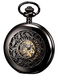 KS Men's Black Skeleton Hand Winding Mechanical Analog Pocket Watch + Chain KSP047