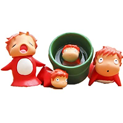Kimkoala Ponyo Figure Toys, 4Pcs Cute Miniature Studio Ghibli Miyazaki Ponyo on The Cliff Figures Collection Model Toys for Garden Home Decor: Toys & Games