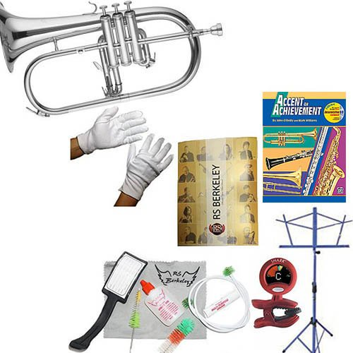 RS Berkeley flu669 Signature Series Silver Plated Flugelhorn with case & Bonus RSB MEGA PACK w/Accent in achievement Book by RS Berkeley