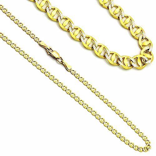 3mm 14K Yellow Gold White Gold Two Tone Mariner Link Chain (2 Tone Gold Link)