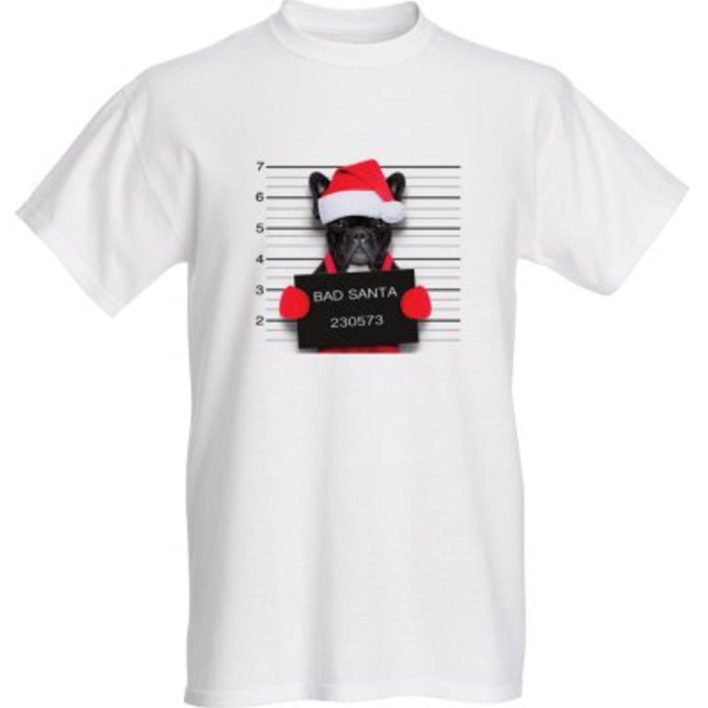 French Bulldog Bad Santa Short Sleeve Holiday T-Shirt