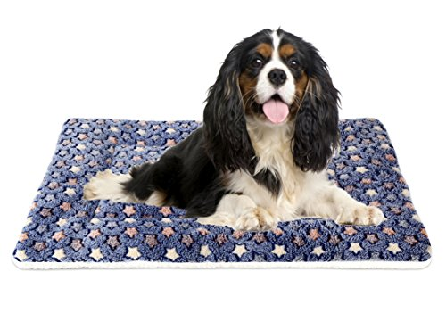 Mora Pets Ultra Soft Pet (Dog/Cat) Bed Mat with Cute Prints | Reversible Fleece Dog Crate Kennel Pad | Machine Washable Pet Bed Liner (30-Inch, Dark Blue)