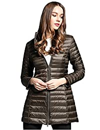 Elezay Women's Winter Light Weight Down Jacket Hooded Coat