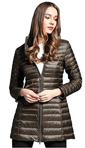Elezay Women's Winter Light Weight Down Jacket Hooded Coat Brown L