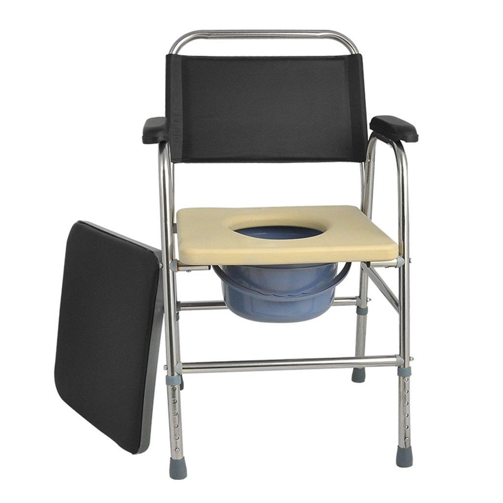 折りたたみ式トイレシート付き椅子椅子高齢者/妊婦/障害者用バスルーム滑り止めステンレススチール調節可能な高さバスルームシャワースツールトイレチェア最大175kg B07DJ4XX1R