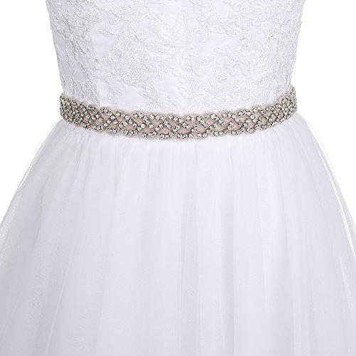 Yinyyinhs Rhinestone Ribbon Sash Belt for Bridal Women's Wedding Dress Belt Bridal Gown Sash Pink (Crystal Pink Belt)