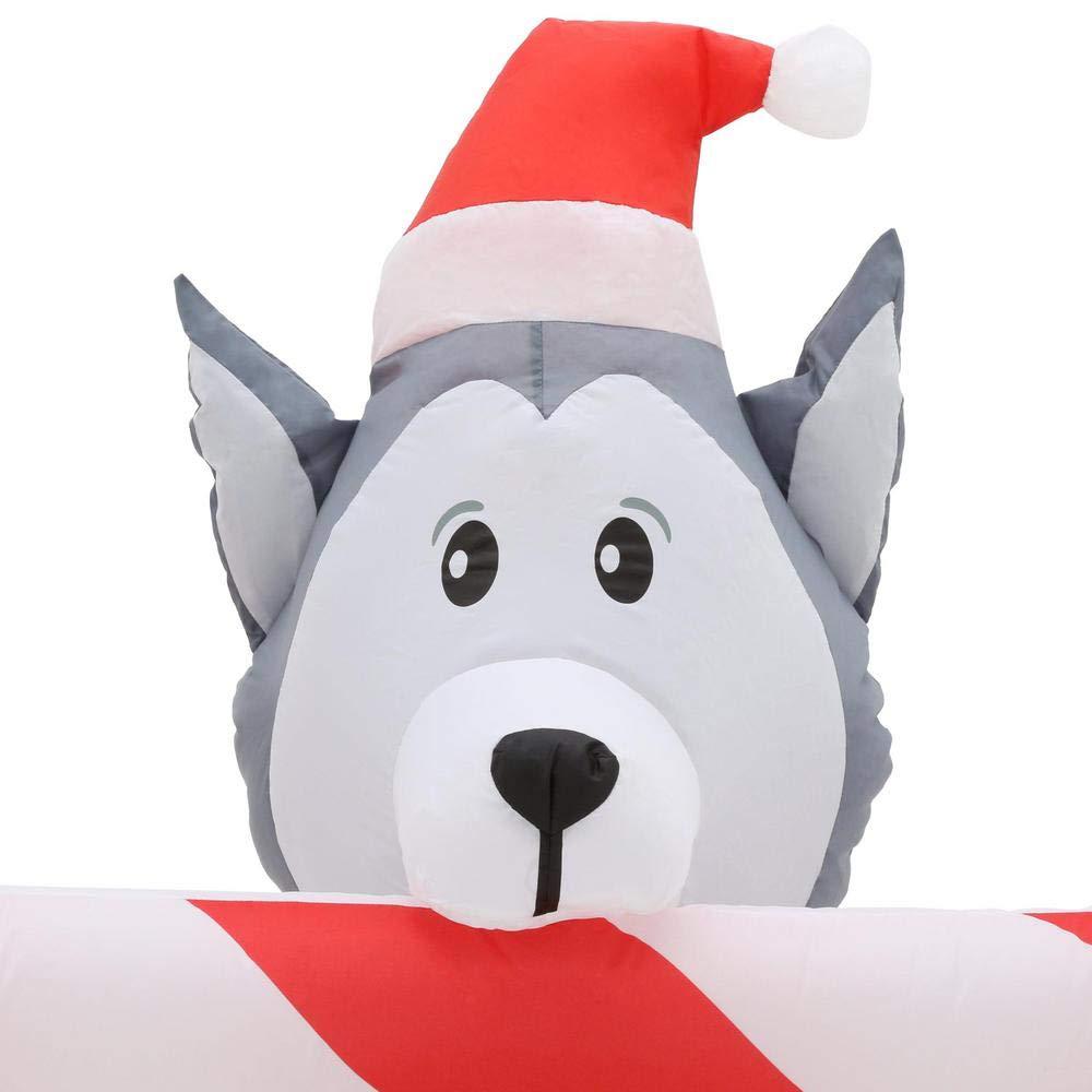 Amazon.com: Holiday SELF Inflatable Christmas Santa Puppy Dogs ...