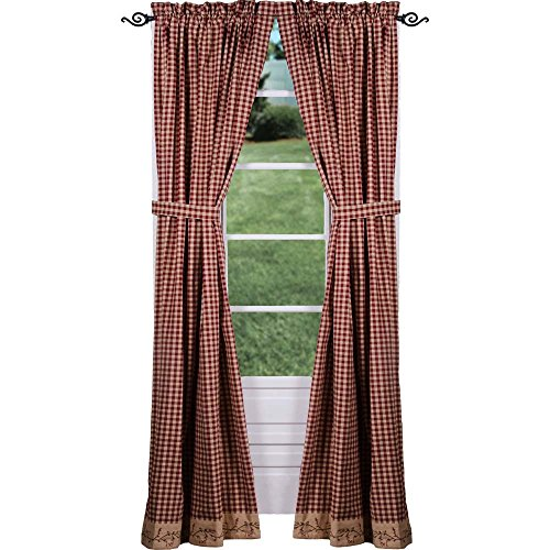 Primitive Home Decors Berry Vine Check Drapery Panels 86 Inch - Barn Red ()