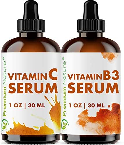 Vitamin B3 & Vitamin C Serum - Gift Set of Two Facial Serums Niacinamide 5% & Vitamin C 20% All Natural Skin Hydrating Pore Minimizer Anti Aging Dark Spot Acne Scar Remover Packaging May Vary