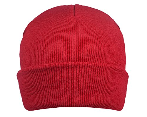 Warm Knit Skull Cap Cold Weather Hats Fashion Beanie Caps for Men Dark Red (Skull Cap Red)