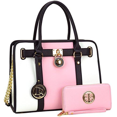 4fe6e943d447 Dasein Women s Designer Satchel Handbag Two Toned Padlock Purse Top Handle  Shoulder Bag w Chain Strap (2-Pink White + Matching Wallet)