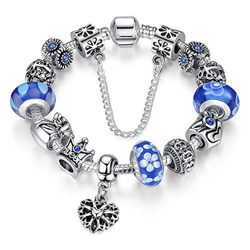 A-TE-Bracelet-Charms-Femme-Verre-Bleu-Couronne-Reine-Pendentif-Coeur-Cadeau-JW-B110-BL