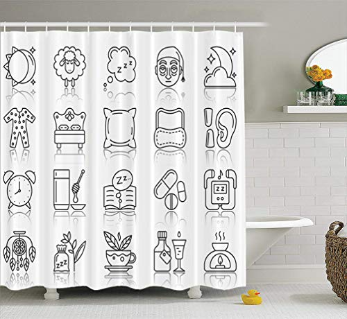 Summor Moon-Sun-Face Fabric Shower Curtain 72x78 inches Line Sign Kit Sleep Dream Collection Bed Rest Pillow Simple Black Symbol with Waterproof Bathroom Shower Curtains Set of Hooks ()