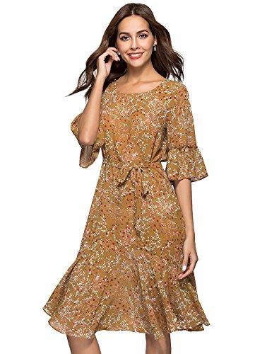 ANNA&CHRIS Womens Boho Floral Bell Sleeve Casual Vintage Chiffon Midi Dress Brown L