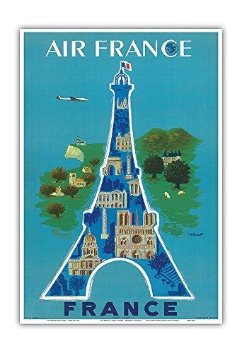 France - Eiffel Tower, Paris - Vintage Airline Travel Poster by Bernard Villemot c.1952 - Master Art Print - 13in x 19in