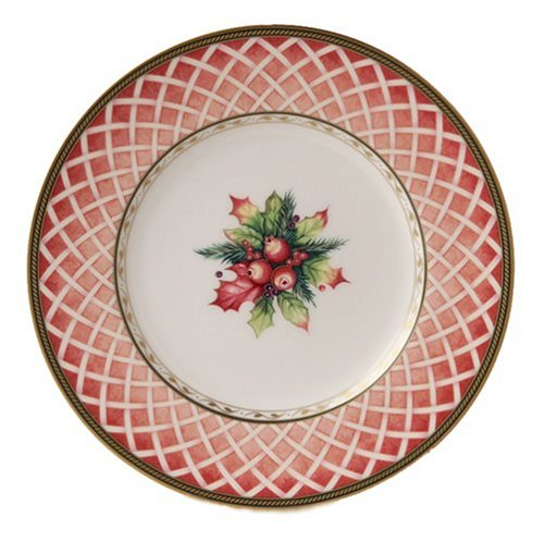 Fitz & Floyd Winter Holiday Rose Wreath Salad Plate