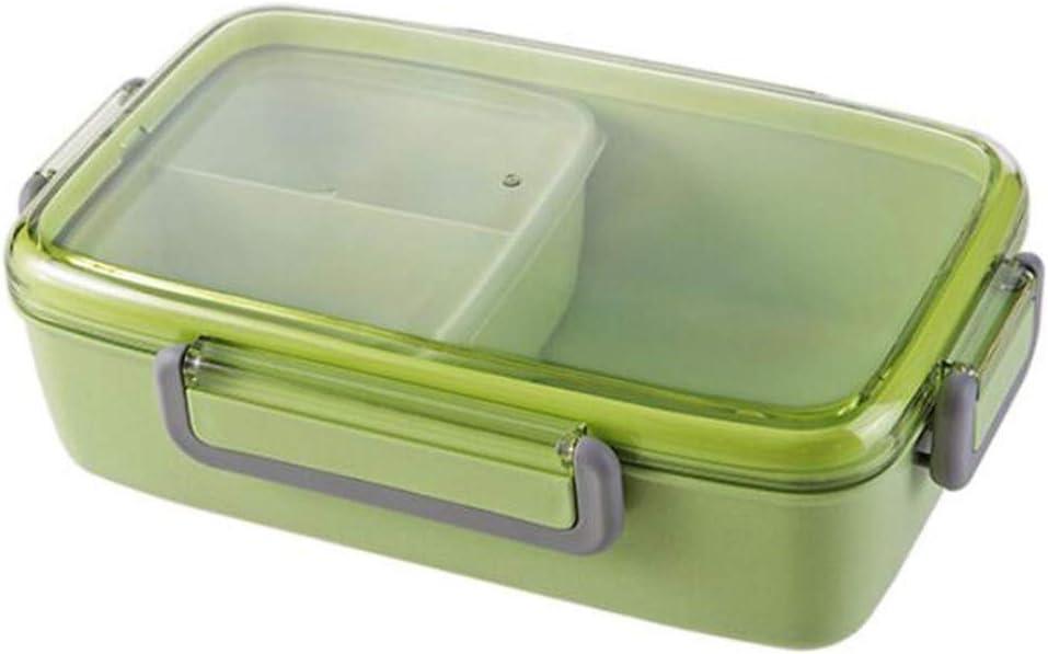 DIYARTS Fiambreras Caja Bento Fibra De Bambú Protección De Medio Ambiente Material Sellado Cuatro Hebillas Diseño Separado Nordic Fashion Macarons Lunch Box (Verde)