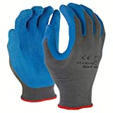 Azusa Safety L22118 13 gauge Knit Nylon Work Safety Gloves, Latex Coated Textured Crinkle Finish X-Large 10'', Blue/Gray (Pack of 120 pairs)