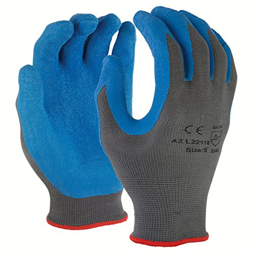 Azusa Safety L22118 13 gauge Knit Nylon Work Safety Gloves, Latex Coated Textured Crinkle Finish Large 9'', Blue/Gray (Pack of 12 pairs) by Azusa Safety (Image #2)