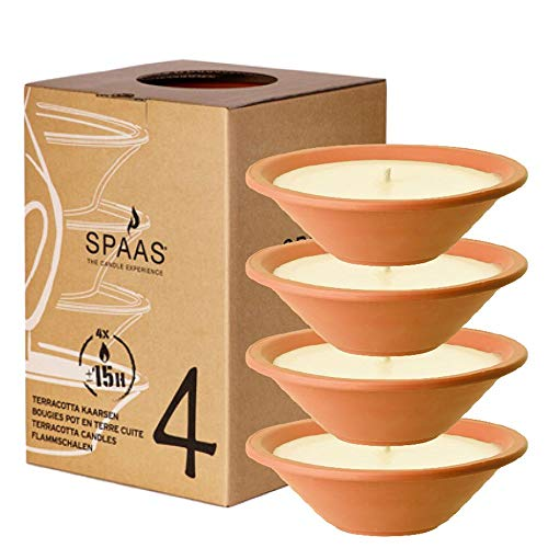 Spaas 4 Garden Candles in Terracotta Dish, Paraffin Wax Ivory, D 230 mm x H 65 mm