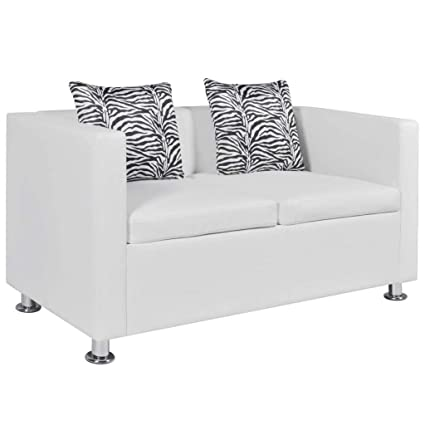 Amazon.com: Contemporary White Sofa with 2 Pillows Luxury 2 ...