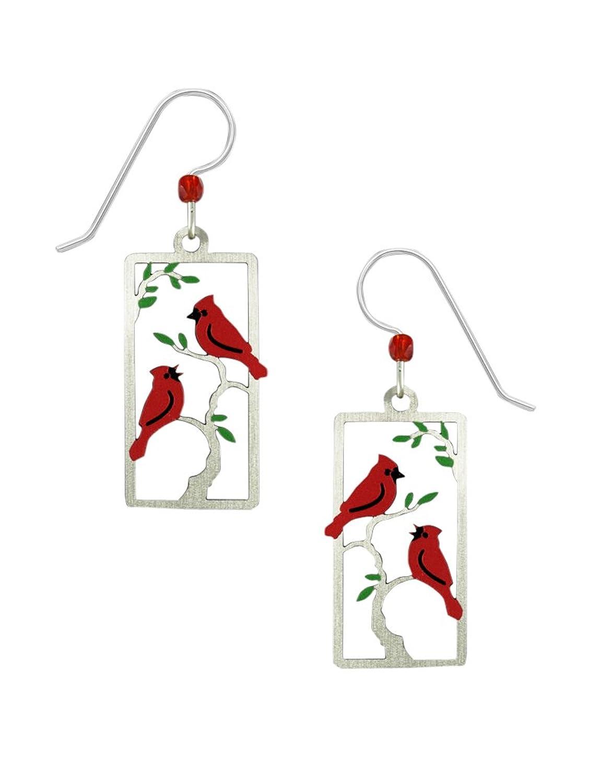 Sienna Sky Handpainted Red Cardinals in Frame Earrings 2000