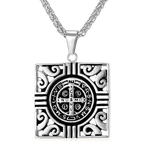 U7 Saint Christopher Pendant Vintage Square Design Christian Catholic Stainless Steel Pendant Necklace