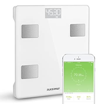 RUKERWAY Body Fat Weight Scale,Smart Bluetooth Scale, Body Fat Analyzer with iOS and