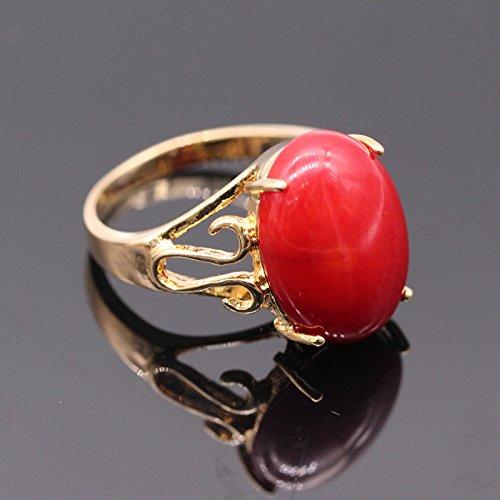 Red Coral Ring Elegance Wedding Jewelry Ring Platinum