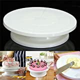 Inditradition Cake Stand, Cake Turntable For Decoration, 28 CM, White, BPA Free Plastic, 360 Degree Rotating
