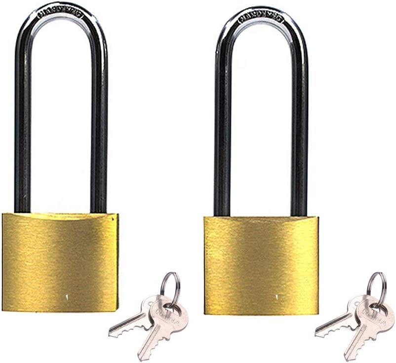 Keyed alike solid brass padock 1-9/16-inch(40mm) pin tumbler padlock long shackle with 2steel keys padlock 2packs
