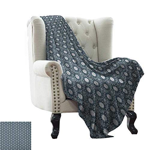 (Damask, Weave Pattern Extra Long Blanket, Flourishing Rich Ornate Flowers Royal Traditional Old Tile Classic Details, Custom Design Cozy Flannel Blanket, (W90 x L110 Inch) Charcoal Grey White)