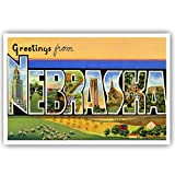 GREETINGS FROM NEBRASKA vintage reprint postcard set of 20 identical postcards. Large letter US state name post card pack (ca. 1930's-1940's). Made in USA.