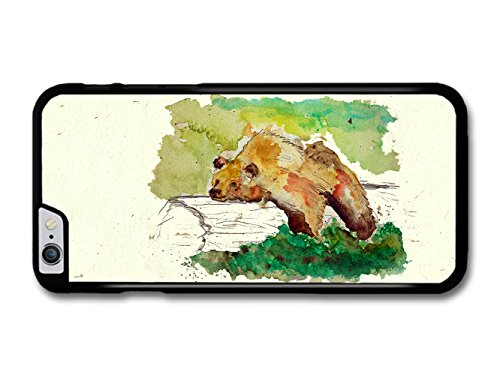 Bear Resting on a Trunk Tree Wildlife Animal Watercolour Art coque pour iPhone 6 Plus 6S Plus