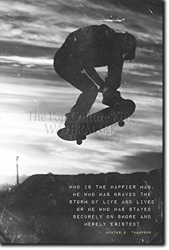 "Skateboarding Motivational Broadside 01 ""Who is happier?"" Photo Print Art Motivation Quote Gift Skateboard Longboard - Size: 12 x 8 Inches"