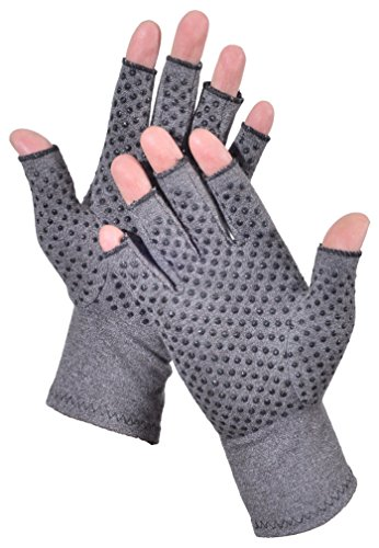 Woogwin Arthritis Compression Gloves - Open Gloves for Relief of Rheumatoid & Osteoarthritis Joint Pain, Fingerlss Hand Non-Slip Gloves for Typing Computer and Daily Work for Men & Women (Gray, L) by woogwin (Image #3)