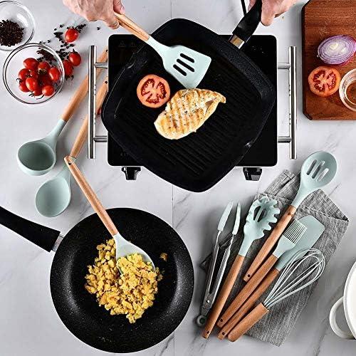Olyee 11pcs ustensile de Cuisine en Silicone avec Support Outils de Gadget r/ésistant /à la Chaleur de spatule de Cuisson pour antiadh/ésif Non Rayures