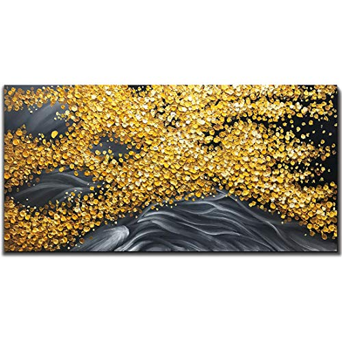 Yotree Paintings, 24x48 Inch Paintings Floating Yellow Leaves Brilliant Gold Leaves Oil Hand Painting 3D Hand-Painted On Canvas Abstract Artwork Art Wood Inside Framed Hanging Wall Decoration Abstract