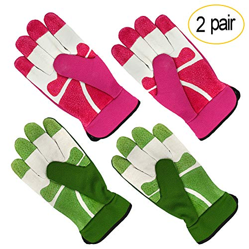All-Season Leather Gardening Gloves - PROMEDIX - Garden Gloves With Pig Split Leather, Suitable For Thorny Rose Pruning and Yard Work, 2 Pair (M/8, Pink + Green)
