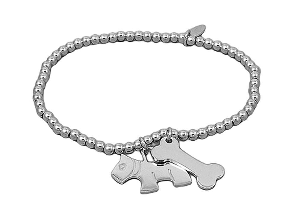Sterling Silver (.925) Italian Beaded Charm Bracelet with Dog and Bone - Length: 7.5'' - Italian Design