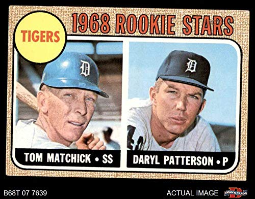 (1968 Topps # 113 A Tigers Rookies Tom Matchick/Daryl Patterson Detroit Tigers (Baseball Card) (Back is Gold in Color) Dean's Cards 4 - VG/EX Tigers)