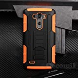LG G3 Case, Cocomii Robot Armor NEW [Heavy Duty] Premium Belt Clip Holster Kickstand Shockproof Hard Bumper Shell [Military Defender] Full Body Dual Layer Rugged Cover (Orange)